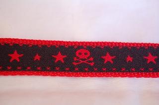スカル柄 黒×赤